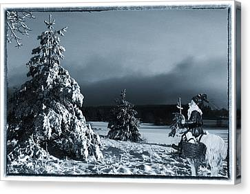 vintage photo of Santa Claus and winter landscape Canvas Print