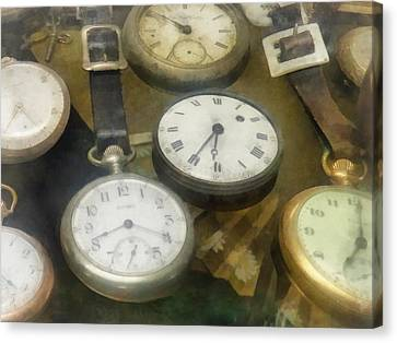 Vintage Pocket Watches Canvas Print by Susan Savad