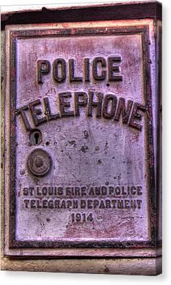 Vintage Police Telephone Box Canvas Print by Jane Linders