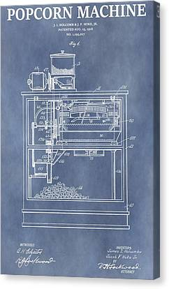 Snack Canvas Print - Vintage Popcorn Machine Patent by Dan Sproul