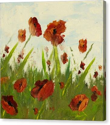 Vintage Poppy Whimsy Canvas Print by Georgiana Romanovna