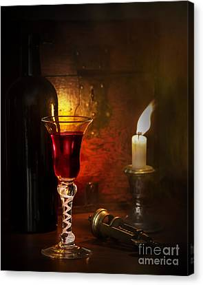 Candle Lit Canvas Print - Vintage Port by Amanda Elwell