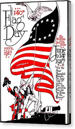 Vintage Poster - America - Flag Day 1917 Canvas Print by Benjamin Yeager