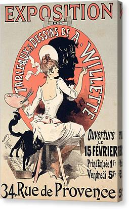 Vintage Poster Advertising An Art Exhibition Canvas Print by Jules Cheret