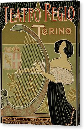 Vintage Poster Advertising The Theater Royal Turin Canvas Print by Italian School