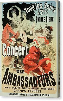 Vintage Poster Ambassadors Concert Canvas Print by Jules Cheret