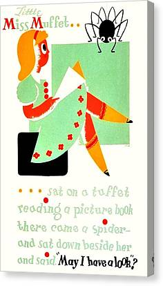 Little Miss Muffet Canvas Print - Vintage Poster - Reading - Miss Muffet by Benjamin Yeager