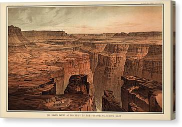 Vintage Print Of The Grand Canyon By William Henry Holmes - 1882 Canvas Print by Blue Monocle