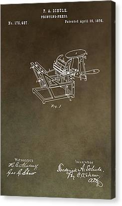 Vintage Printing Press Patent Canvas Print by Dan Sproul