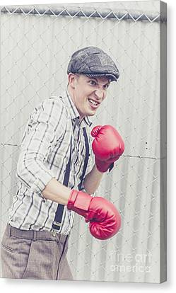 Vintage Prison Yard Boxer Settling The Score Canvas Print by Jorgo Photography - Wall Art Gallery