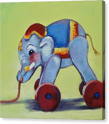 Vintage Pull Toy Series Elephant Canvas Print by Kelley Smith