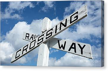 Vintage Railway Crossing Sign Canvas Print by Edward Fielding