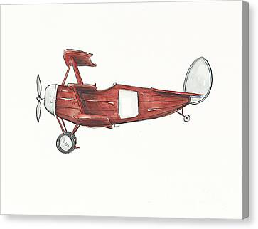 Vintage Red And Gray Airplane Canvas Print by Annie Laurie