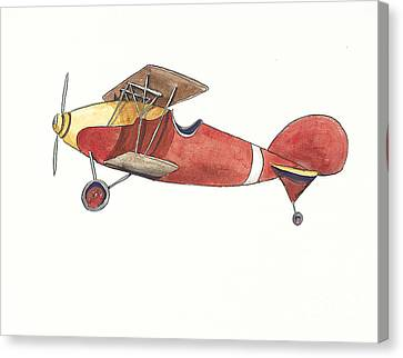 Vintage Airplane Canvas Print - Vintage Red And Yellow Airplane by Annie Laurie