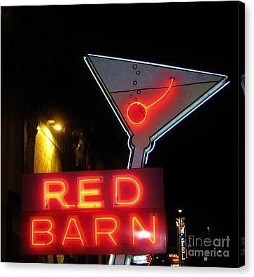 Vintage Red Barn Neon Sign Las Vegas Canvas Print by John Malone