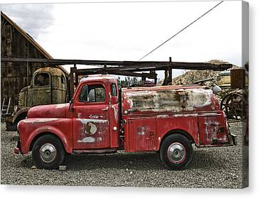 Old American Truck Canvas Print - Vintage Red Chevrolet Truck by Gianfranco Weiss