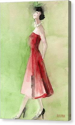 Vintage Red Cocktail Dress Fashion Illustration Art Print Canvas Print by Beverly Brown