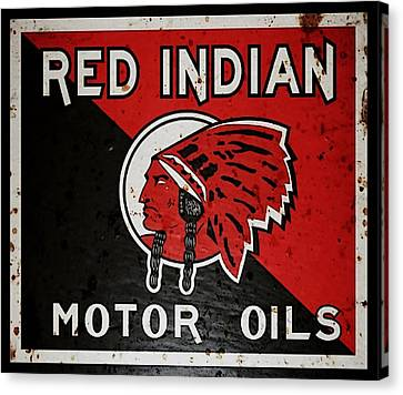 Vintage Red Indian Motor Oils Metal Sign Canvas Print by Marvin Blaine