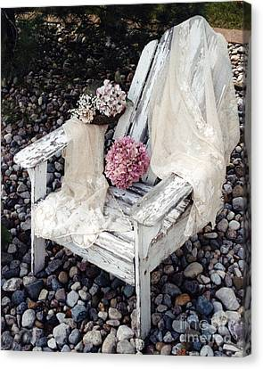 Vintage Romantic Shabby Chic Adirondac Chair Canvas Print by Kathy Fornal