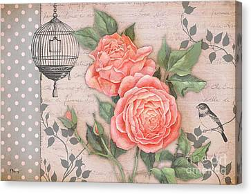 Vintage Rose Collage Canvas Print by Paul Brent