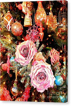 Vintage Rose Holiday Decorations Canvas Print