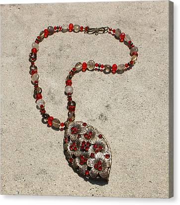 Vintage Ruby Rhinestone Flower Brooch Pendant Necklace 3633 Canvas Print by Teresa Mucha