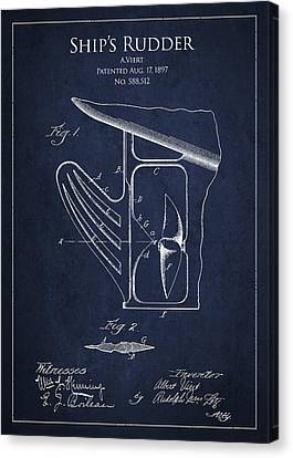 Vintage Rudder Patent Drawing From 1887 Canvas Print by Aged Pixel