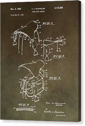 Vintage Saddle Patent Drawing Canvas Print by Dan Sproul