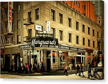 Crosswalk Canvas Print - Vintage San Francisco Marquards Little Cigar Store Powell Street 5d17950brun by Wingsdomain Art and Photography