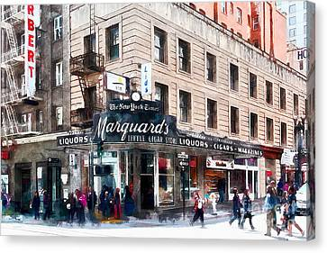 Crosswalk Canvas Print - Vintage San Francisco Marquards Little Cigar Store Powell Street 5d17950wcstyle by Wingsdomain Art and Photography