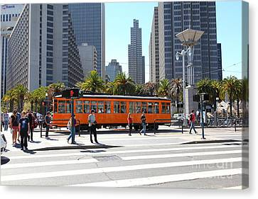 Bus In San Francisco Canvas Print - Vintage San Francisco Street Car On The Embarcadero 5d25384 by Wingsdomain Art and Photography