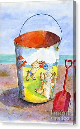 Vintage Sand Pail- 3 Pigs At The Beach Canvas Print by Sheryl Heatherly Hawkins