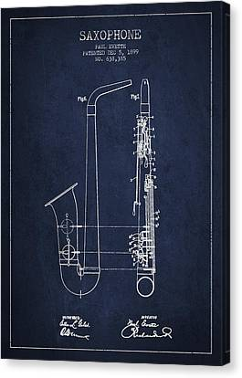 Saxophone Canvas Print - Saxophone Patent Drawing From 1899 - Blue by Aged Pixel
