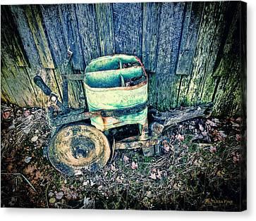 Farming Canvas Print - Vintage Seeder 4 - Color Hdr_blue by Lesa Fine