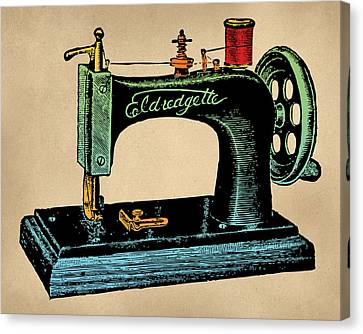 Vintage Sewing Machine Illustration Canvas Print by Flo Karp