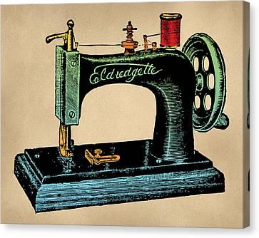 Vintage Sewing Machine Illustration Canvas Print by Flo Karp