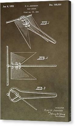 Vintage Ship Anchor Patent Canvas Print