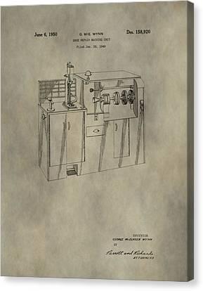 Vintage Shoe Repair Machine Patent Canvas Print by Dan Sproul