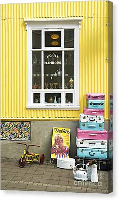 Vintage Shop In Akureyri Iceland Canvas Print