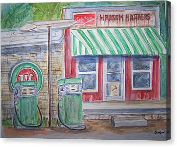 Vintage Sinclair Gas Station Canvas Print by Belinda Lawson