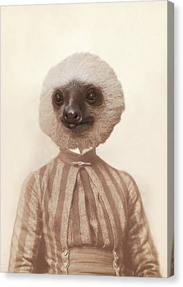 Vintage Sloth Girl Portrait Canvas Print by Brooke T Ryan