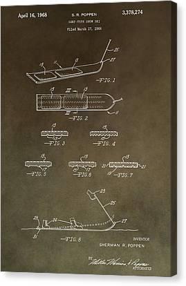 Alpine Canvas Print - Vintage Snowboard Patent by Dan Sproul
