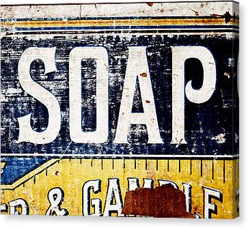 Vintage Soap Crate In Country Yellow And Blue Canvas Print by Lisa Russo