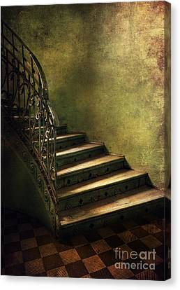 Vintage Staircase With Tiles And Ornamented Handrail Canvas Print by Jaroslaw Blaminsky