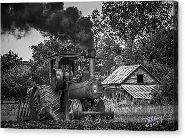 Vintage Steam Tractor - Monochrome Canvas Print by F Leblanc