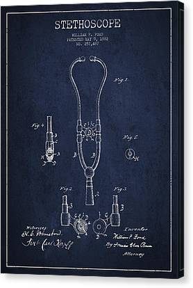 Vintage Stethoscope Patent Drawing From 1882 - Navy Blue Canvas Print by Aged Pixel