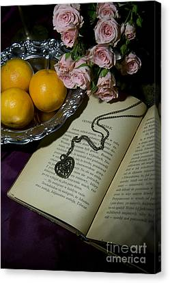 Vintage Still Life With Roses Books And Tangerines Canvas Print