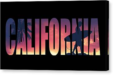 Surf Lifestyle Canvas Print - Vintage Style California Postcard by Mr Doomits