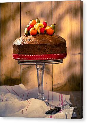 Vintage Style Fruit Cake Canvas Print by Amanda Elwell