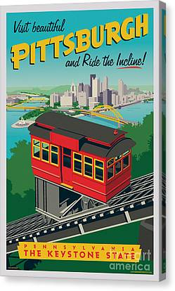 Yellow Building Canvas Print - Vintage Style Pittsburgh Incline Travel Poster by Jim Zahniser